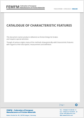 Booklet - Catalogue of characteristic features